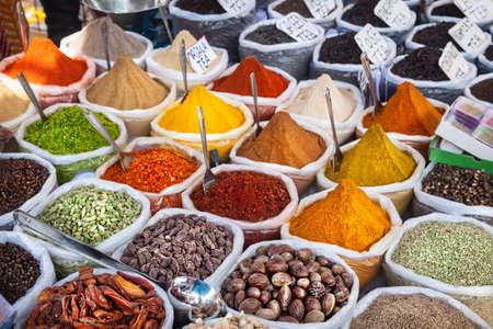 flea: Indian colorful spices and tea at Anjuna flea market in Goa, India