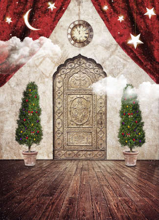 winter theater: Decorated christmas trees and oriental vintage door around white clouds. Vintage clock, red curtains, stars and half moon above   Stock Photo