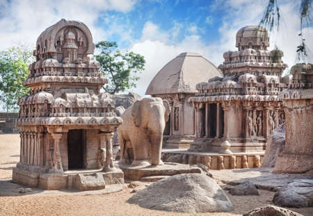 mamallapuram: Five rathas complex with elephant statue in Mamallapuram, Tamil Nadu, India