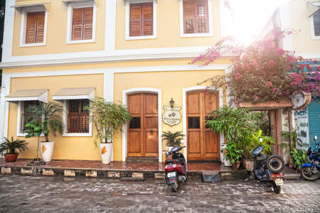 guesthouse: Puducherry, INDIA - January 27: Guesthouse on the street with scooters in French part of Puducherry, also known as Pondicherry, on January 27, 2013. Editorial