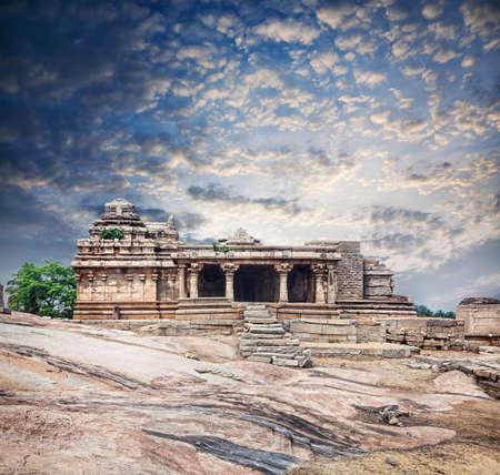Ancient ruins of Vijayanagara Empire at blue sky in Hampi, Karnataka, India Stock Photo - 25776475