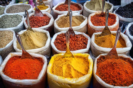 spice market: Indian colorful spices at Anjuna flea market in Goa, India Stock Photo