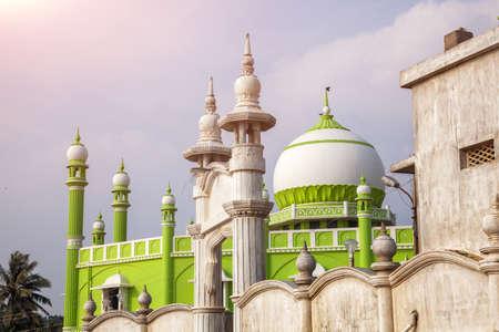 kovalam: Green Mosque at violet sky in Kovalam, Kerala, India