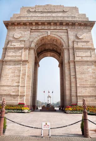 gateway: India Gate historical memorial in New Delhi, India Stock Photo