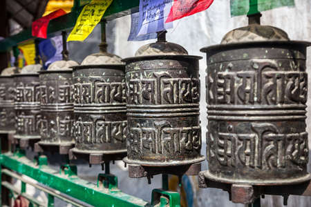 Prayer wheels at Kathesimbhu stupa in Kathmandu, Nepal    photo