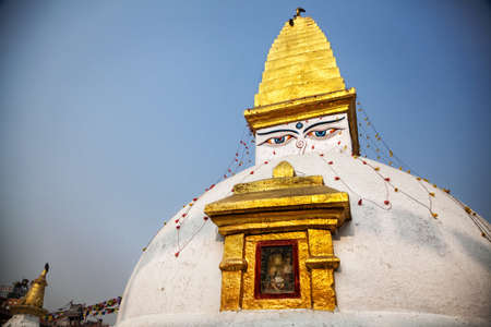 bodnath: Stupa with Buddha eyes near big Bodnath stupe in Kathmandu valley, Nepal Stock Photo