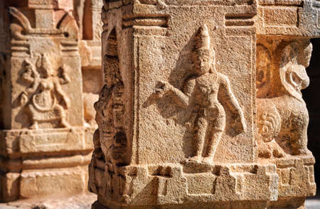 deities: Ancient basrelief of hindu deities in Hampi Temple, Karnataka, India