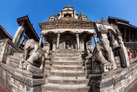 kathmandu: Temple with elephants on Durbar square in Bhaktapur, Kathmandu valley, Nepal
