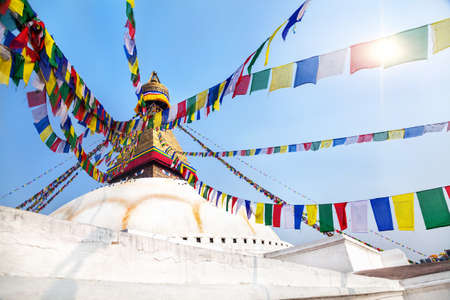 bodnath: Bodhnath stupa with prayer flags in Kathmandu valley, Nepal