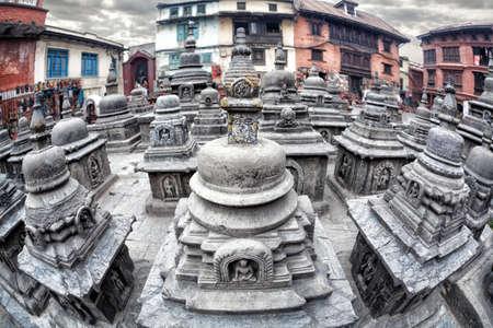 kathmandu: Small stupas near big Swayambhunath stupa in Kathmandu, Nepal