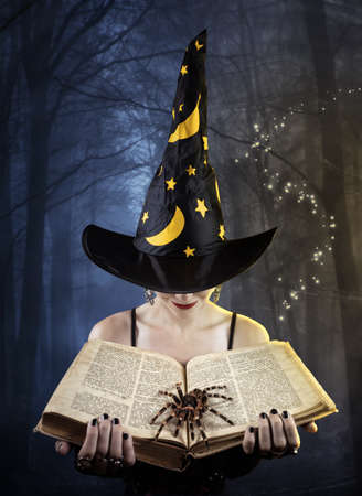 Witch holding old book with tarantula spider at dark forest background