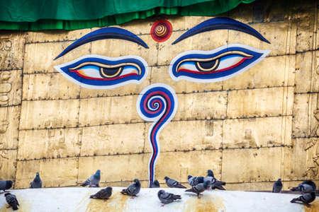 3rd ancient: Buddha eyes close up at Swayambhunath stupa in Kathmandu, Nepal