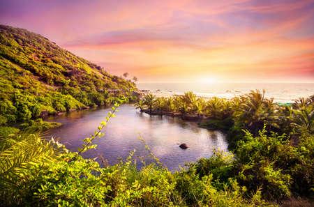 고아, 인도에서 보라색 하늘에서 Arambol 해변에서 달콤한 호수에 열대보기 스톡 콘텐츠