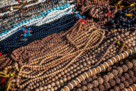 Prayer mala in the shop at Durbar square in Kathmandu, Nepal    Stock Photo