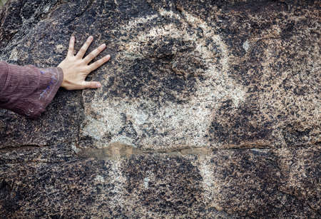 issyk kul:  Woman touching the stone with ancient petroglyph of goat in museum of Kyrgyzstan