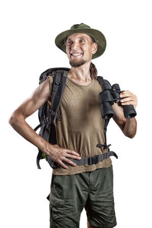 backpackers: Man with backpack and binocular isolated on white background Stock Photo