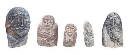 kazakhstan: Ancient balbal statues of central Asia isolated on white background