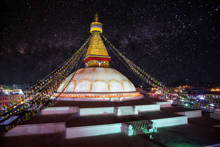 bodnath: Bodhnath stupa at night sky with stars in Kathmandu valley, Nepal
