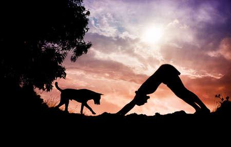 siluet: Man silhouette doing yoga with dog nearby in Gokarna, Karnataka, India