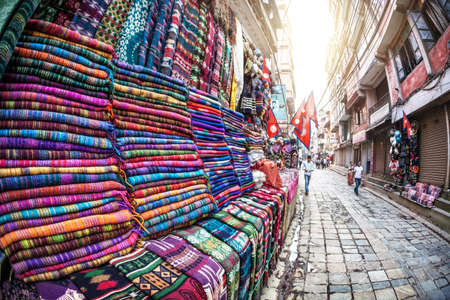 THAMEL, KATHMANDU, NEPAL - APRIL 24, 2014: Tibetan yak wool blankets in the shop of Thamel market in Kathmandu, Nepal