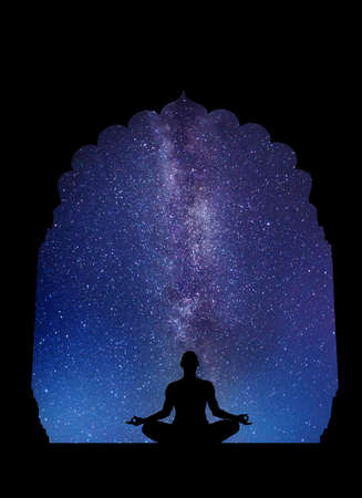 meditative: Meditation in old temple at night sky with Milky Way and stars