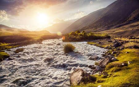kyrgyzstan: Mountain river in Gregory gorge in Kyrgyzstan, Central Asia