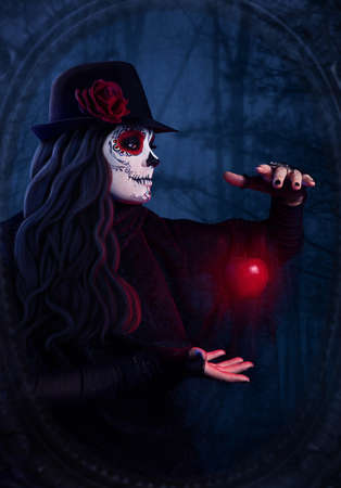 corpse flower: Woman with sugar skull makeup with levitating red apple at dark forest background