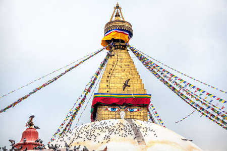 Bodhnath stupa with Buddha eyes in Kathmandu valley, Nepal photo
