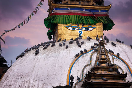 violet residential: Kathesimbhu Buddhist stupa close up at purple sky in Thamel, Kathmandu, Nepal Stock Photo