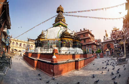 tibetan house: Kathesimbhu Buddhist stupa in courtyard in Thamel, Kathmandu, Nepal