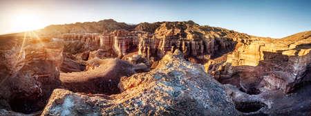 pano: Charyn grand canyon at sunrise in Kazakhstan