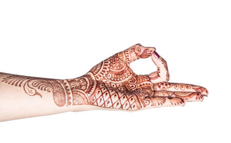 dhyana: Woman hand with henna doing Dhyana mudra isolated on white background with clipping path