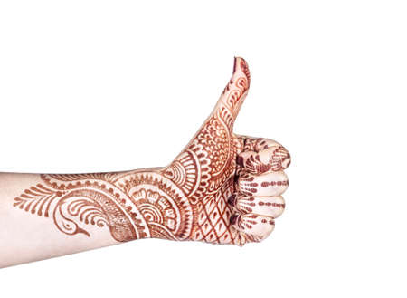 prana: Woman hand with henna doing Merudanda mudra isolated on white background with clipping