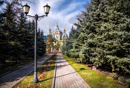 The Ascension Cathedral or Zenkov cathedral in Panfilov Park of Almaty, Kazakhstan Stock Photo
