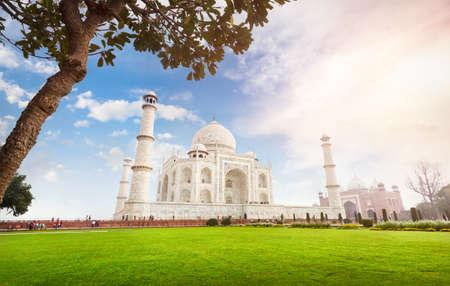 Taj Mahal tomb and green grass at blue cloudy sky in Agra, Uttar Pradesh, India Stock Photo