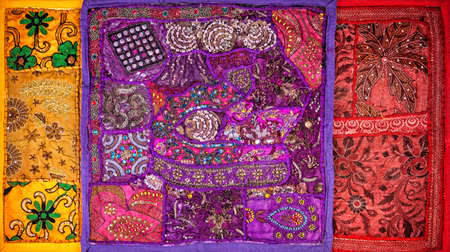gipsy: Colorful ethnic Rajasthan cushion covers on flea market in India