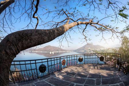sagar: Fateh Sagar lake and Udaipur city view from the Nehru park in Rajasthan, India