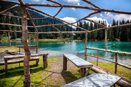 issyk kul: Summerhouse near mountain Saint lake in Gregory gorge of Kyrgyzstan, Central Asia