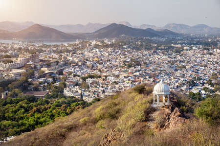 sagar: Udaipur city view from sunset point hill in Rajasthan, India