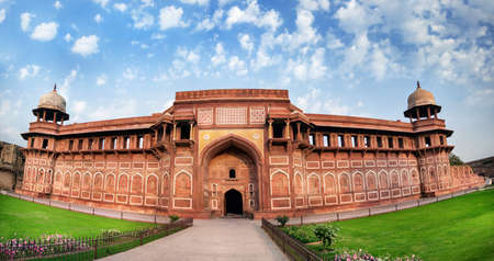 agra: Agra Fort panorama at blue sky in India Editorial