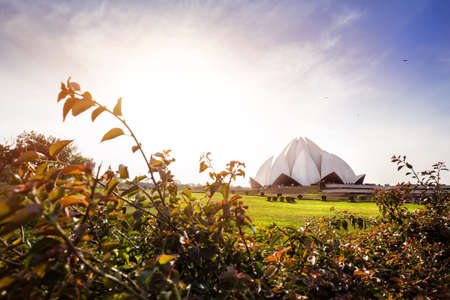 new delhi: Lotus temple at sunset in New Delhi, India