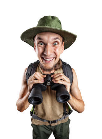Happy man with binocular and backpack isolated on white background with clipping path photo