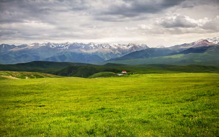 tyan shan mountains: Grass Field and mountains at dramatic overcast sky in Ushkonyr near Chemolgan, Kazakhstan, central Asia Stock Photo