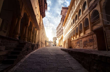 Mehrangarh fort at sunrise in Jodhpur, Rajasthan, India Editorial