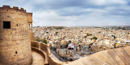 pano: City view from the Jaisalmer fort in Rajasthan, India Editorial