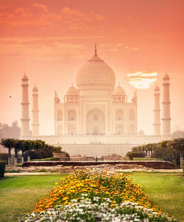 monument in india: Taj Mahal monument one of the wonder of the world at red and beautiful garden in Agra, Uttar Pradesh, India
