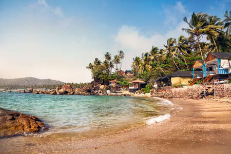 Cottages Near Lagoon In Sunny Day At Dreamy Tropical Palolem Beach Goa India Photo