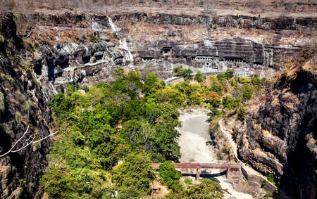 maharashtra: Ajanta cave view carved in the rock wall near Aurangabad, Maharashtra, India Stock Photo