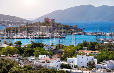 harbour: View of Bodrum, Marina Harbor and ancient castle in Aegean sea in Turkey
