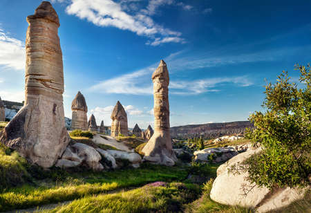 geological formation: Ancient geological formation called fairy chimneys at sunset in Cappadocia, Turkey Stock Photo